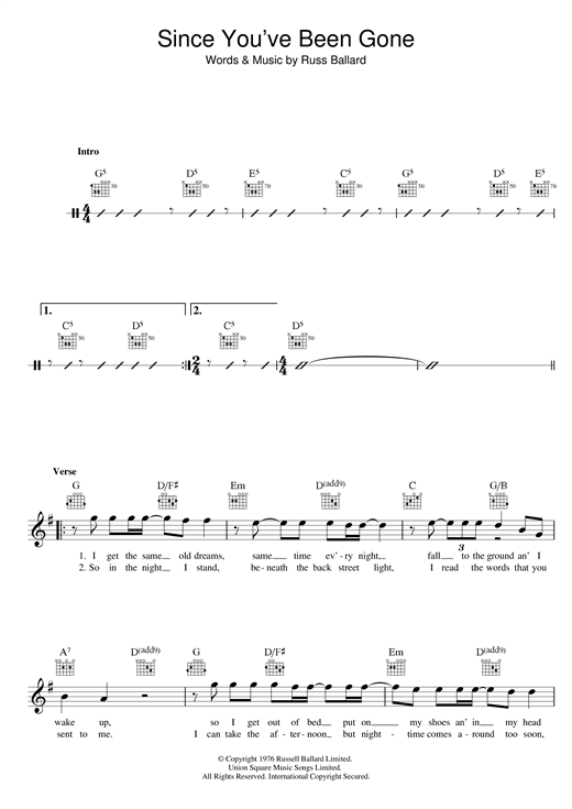 Since You've Been Gone Sheet Music