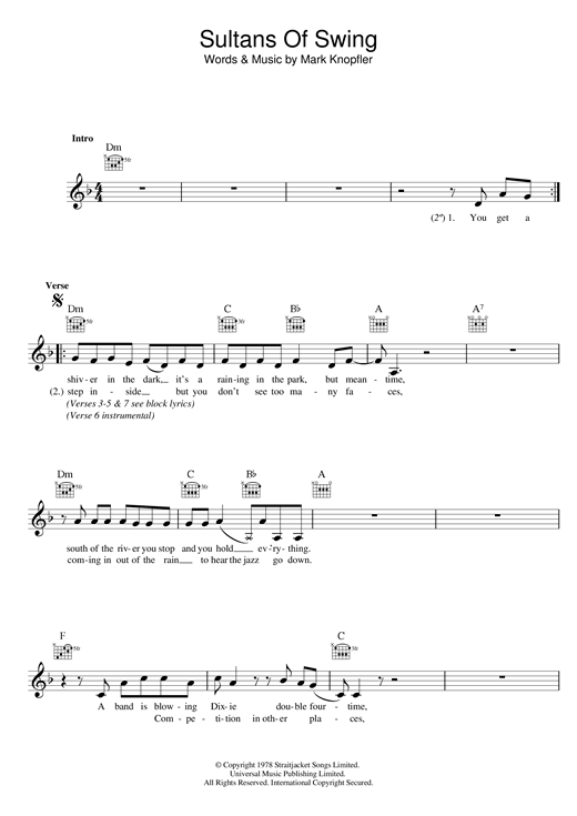 Sultans Of Swing Sheet Music