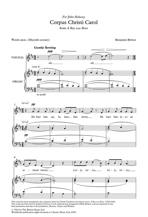 Corpus Christi Carol (from A Boy Was Born) Sheet Music