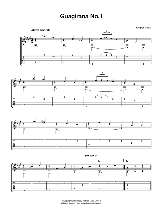 Tablature guitare Guagirana No. 1 de Jacques Bosch - Guitare Classique