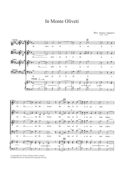 Partition chorale In Monte Oliveti de  - SATB