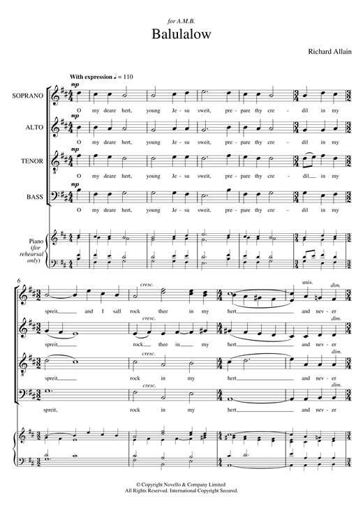 Partition chorale Balulalow de Richard Allain - SATB