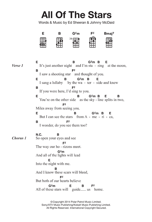 Tablature guitare All Of The Stars de Ed Sheeran - Ukulele