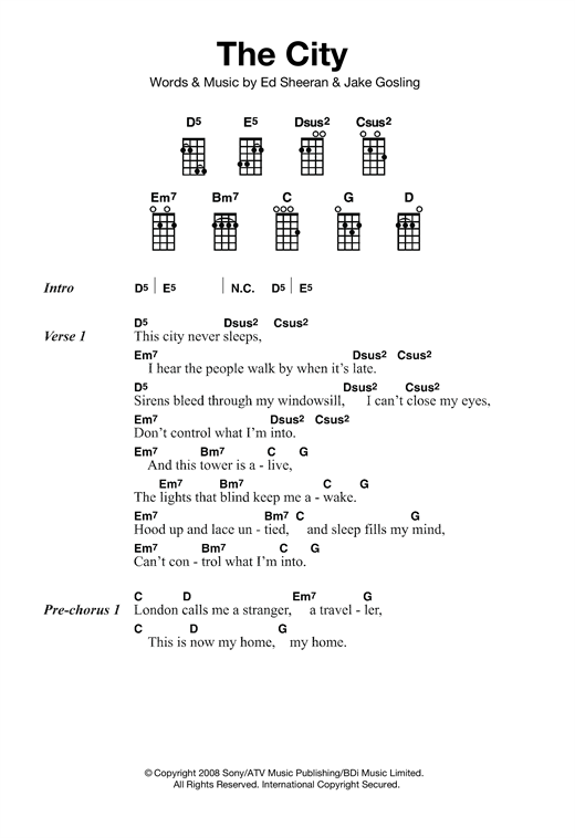 Tablature guitare The City de Ed Sheeran - Ukulele