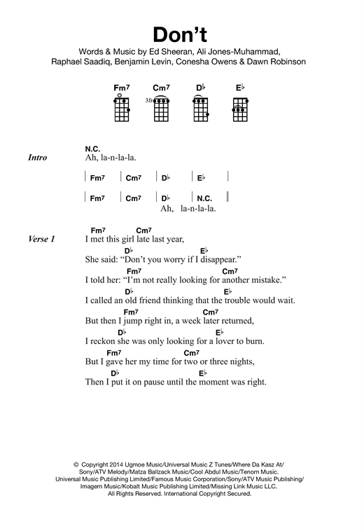 Tablature guitare Don't de Ed Sheeran - Ukulele