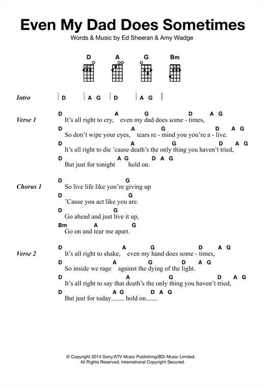Tablature guitare Even My Dad Does Sometimes de Ed Sheeran - Ukulele