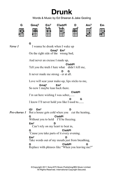 Tablature guitare Drunk de Ed Sheeran - Ukulele