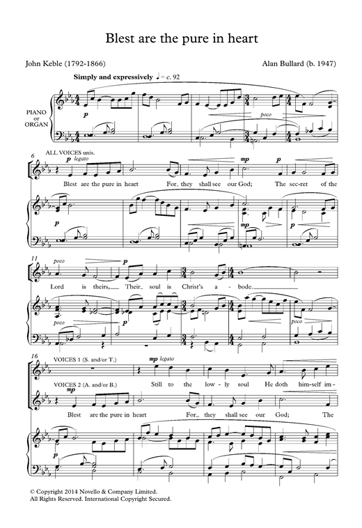 Blest Are The Pure In Heart Sheet Music