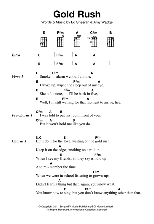 Tablature guitare Gold Rush de Ed Sheeran - Ukulele