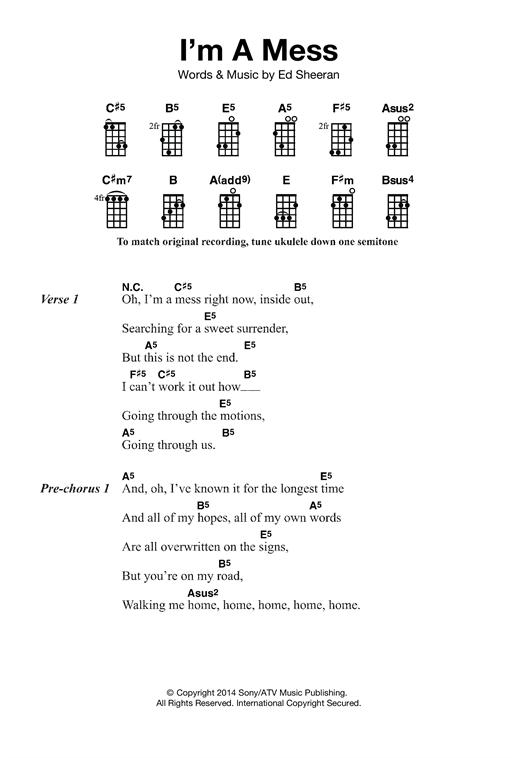 Tablature guitare I'm A Mess de Ed Sheeran - Ukulele