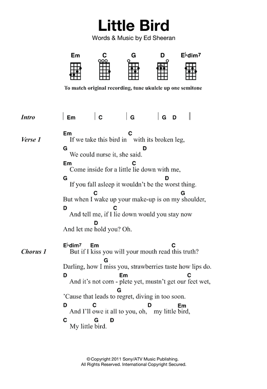 Ukulele u00bb Ukulele Chords Three Little Birds - Music Sheets, Tablature, Chords and Lyrics