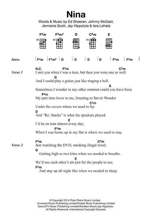 Tablature guitare Nina de Ed Sheeran - Ukulele