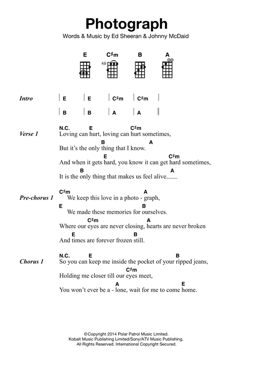 Photograph sheet music by Ed Sheeran (Ukulele u2013 121865)