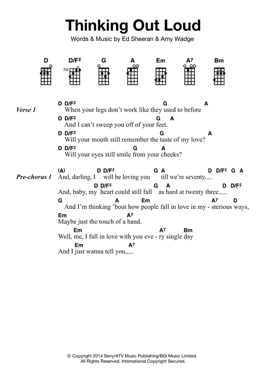 Thinking Out Loud sheet music by Ed Sheeran (Ukulele u2013 121871)