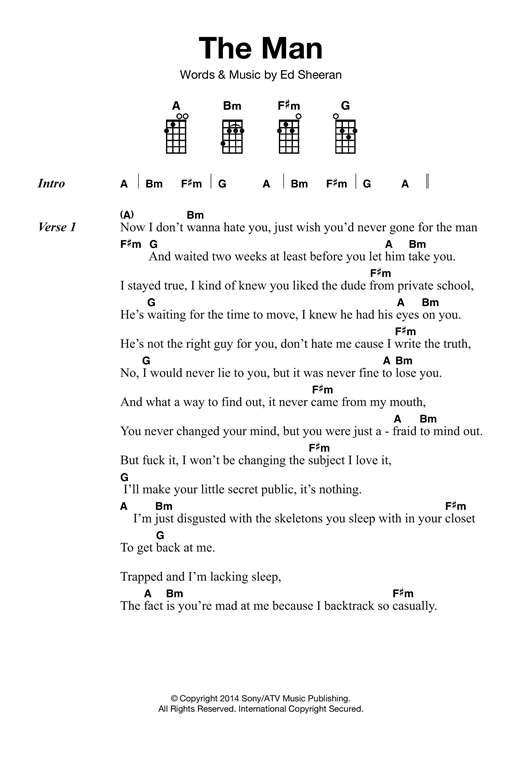 Tablature guitare The Man de Ed Sheeran - Ukulele