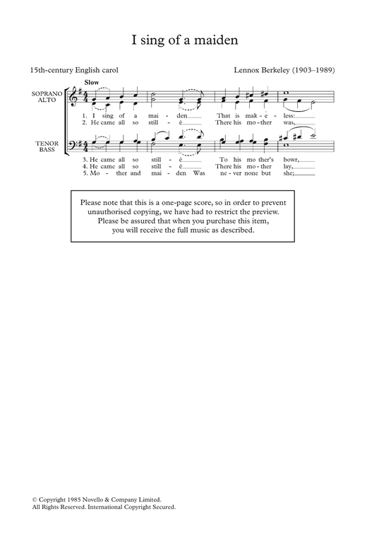 Partition chorale I Sing Of A Maiden (Arr. Lennox Berkeley) de Traditional - SATB
