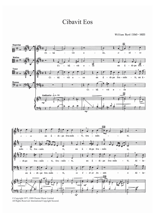 Partition chorale Cibavit Eos de William Byrd - SATB