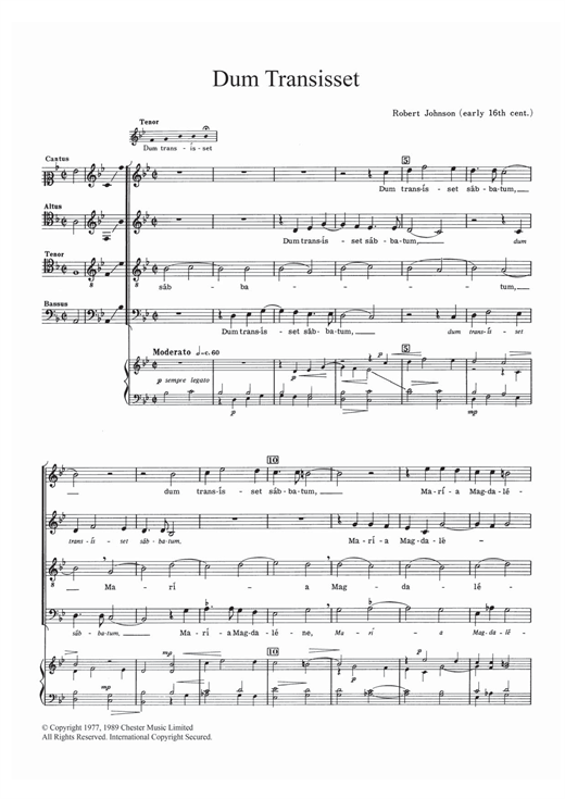 Dum Transisset Sheet Music