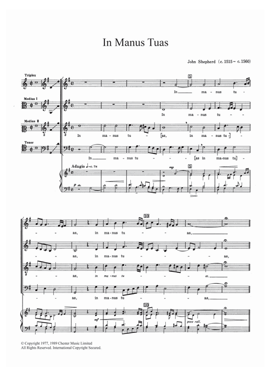 Partition chorale In Manus Tuas de  - SATB