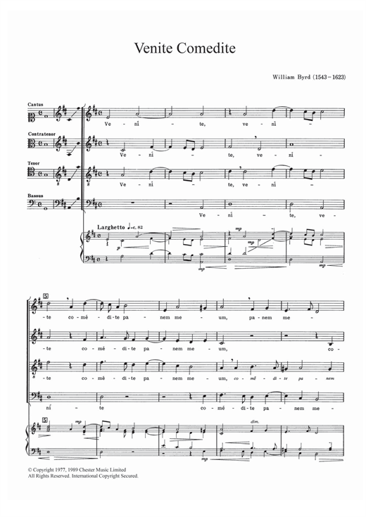 Venite Comedite Sheet Music