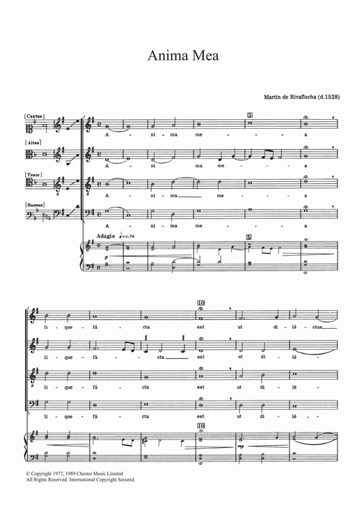 Anima Mea Sheet Music