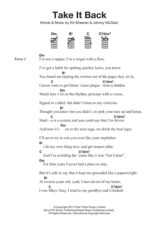Take It Back Sheet Music