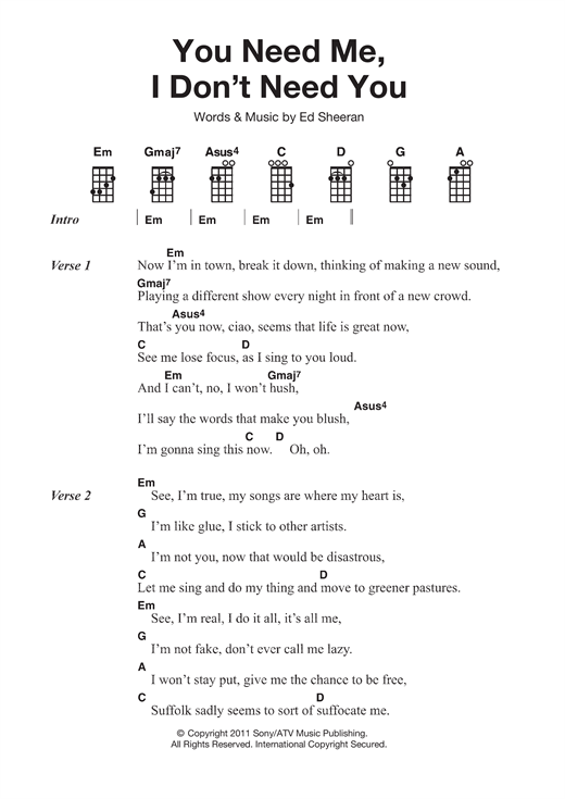 Tablature guitare You Need Me I Don't Need You de Ed Sheeran - Ukulele