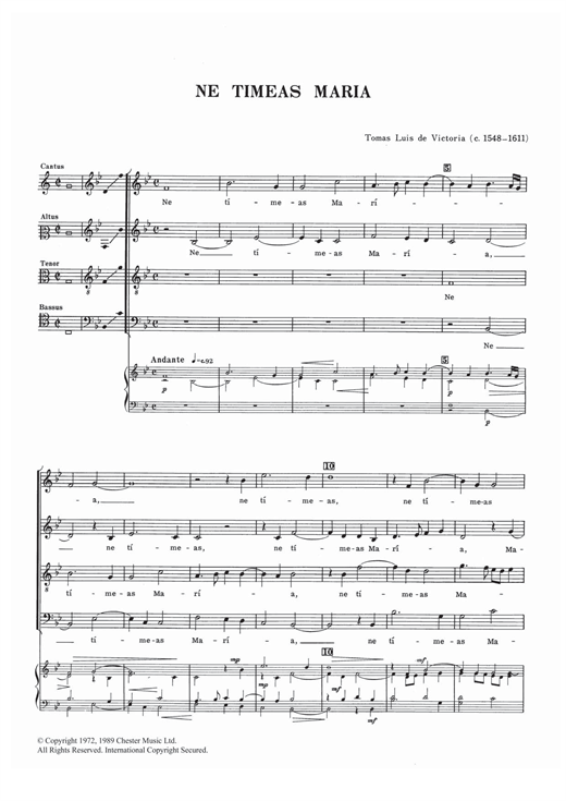 Ne Timeas Maria Sheet Music
