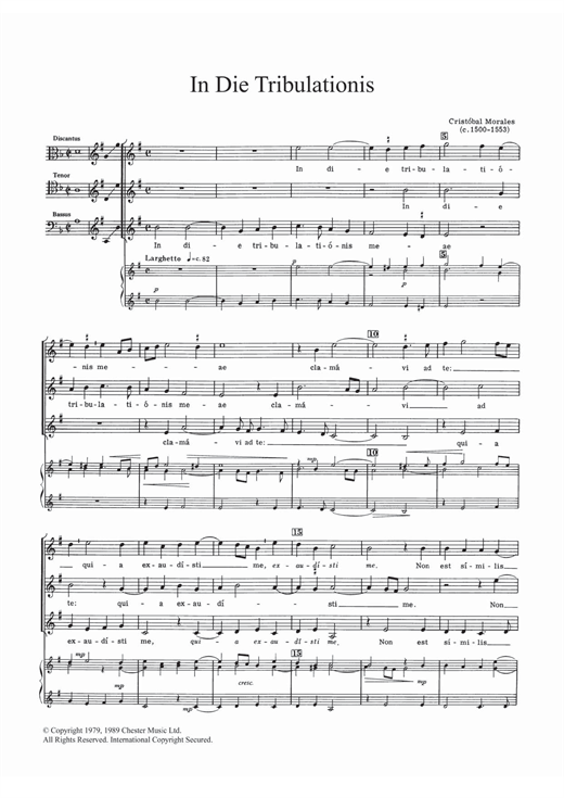 In Die Tribulationis Sheet Music