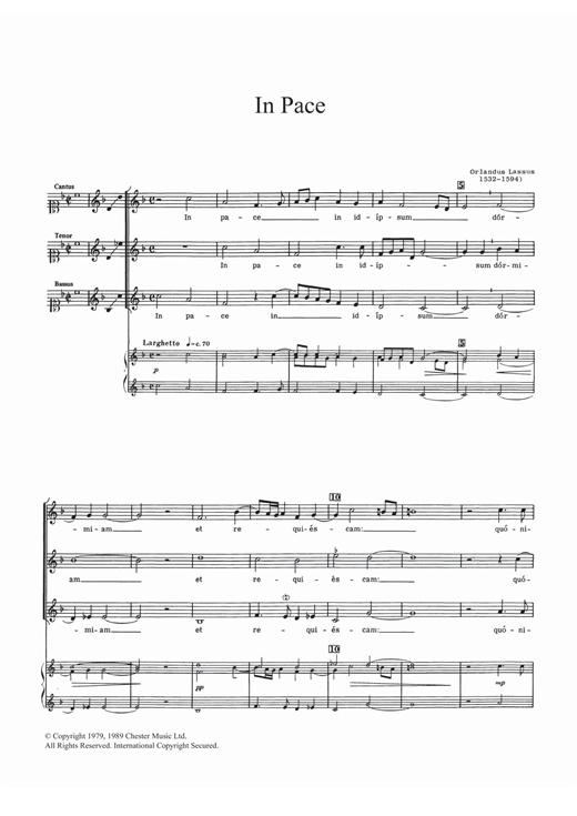 In Pace Sheet Music