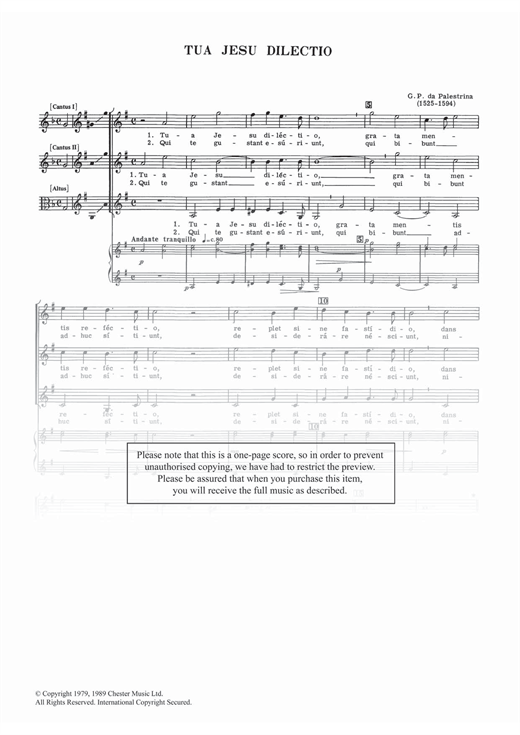 Tua Jesu Dilectio Sheet Music