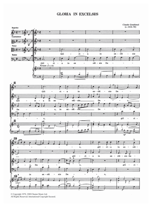 Partition chorale Gloria In Excelsis de  - SATB