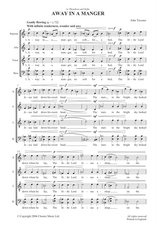 Partition chorale Away In A Manger de John Tavener - SATB