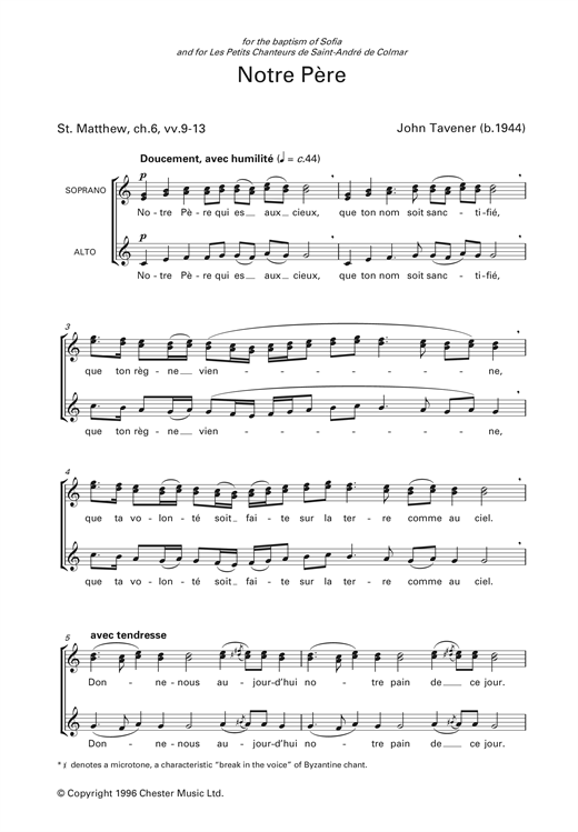 Notre Pere Sheet Music