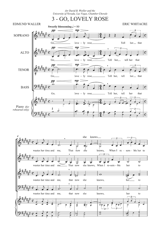 Partition chorale Go, Lovely Rose (From 'Three Flower Songs') de Eric Whitacre - SATB
