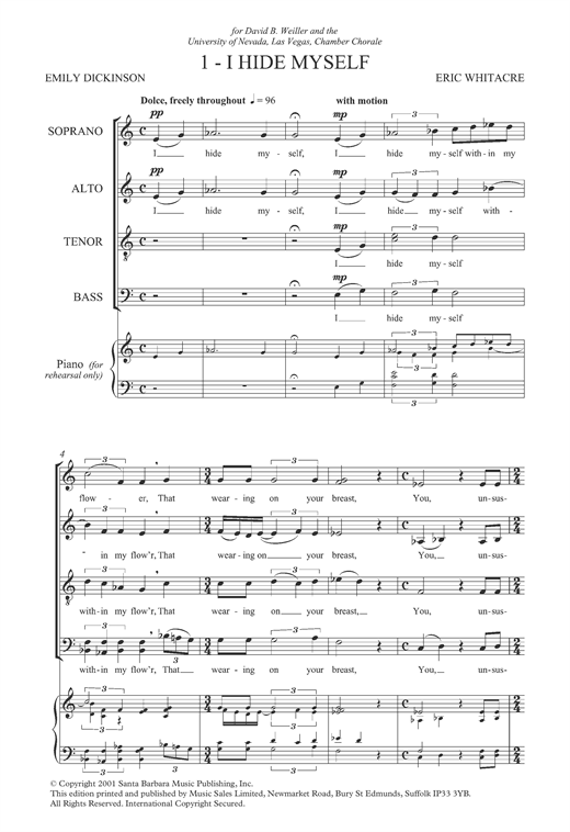 Partition chorale I Hide Myself (from 'Three Flower Songs') de Eric Whitacre - SATB
