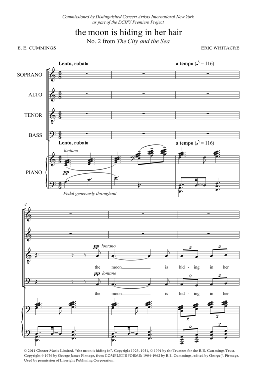 The Moon Is Hiding In Her Hair (From 'The City And The Sea') Sheet Music