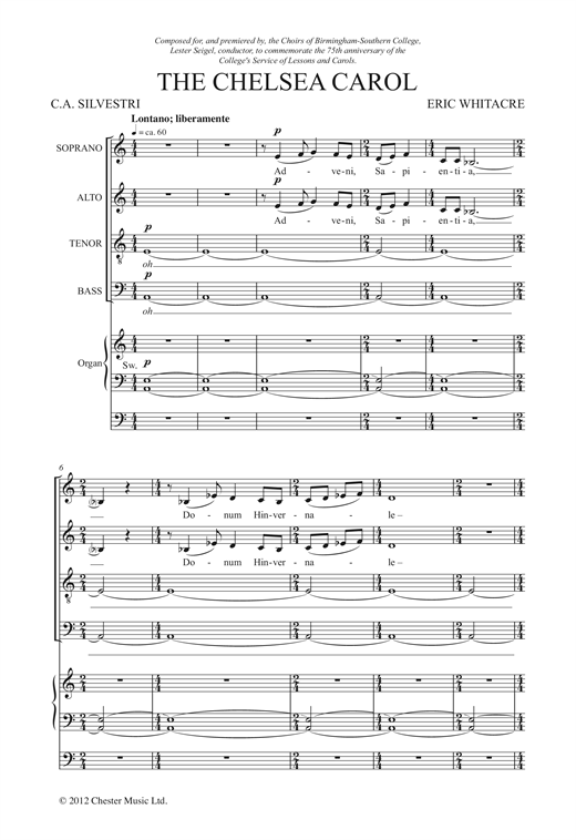The Chelsea Carol Sheet Music