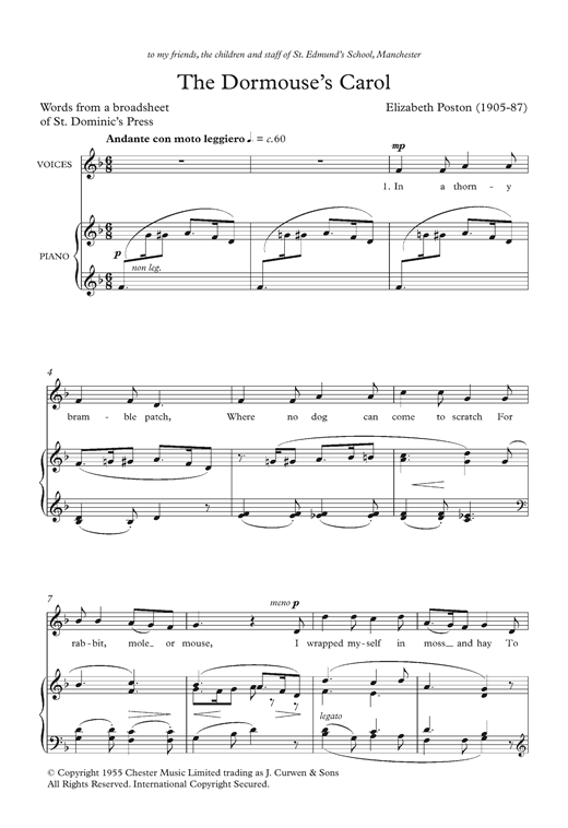 The Dormouse's Carol Sheet Music