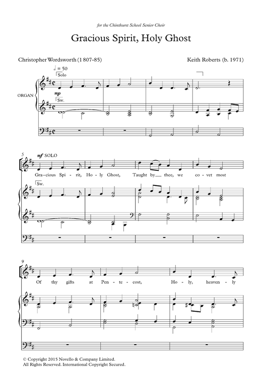 Gracious Spirit, Holy Ghost Sheet Music