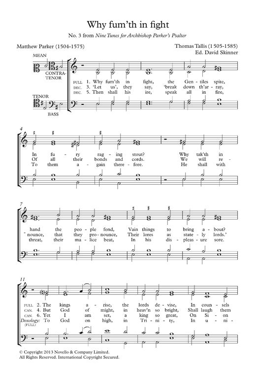 Why Fum'th In Fight (From Nine Tunes For Archbishop Parker's Psalter) Sheet Music