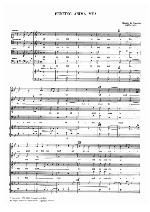 Benedic Anima Mea Sheet Music