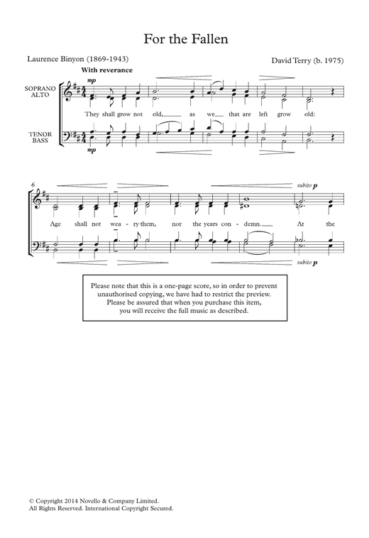 Partition chorale For The Fallen de  - SATB