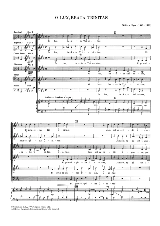 O Lux, Beata Trinitas Sheet Music