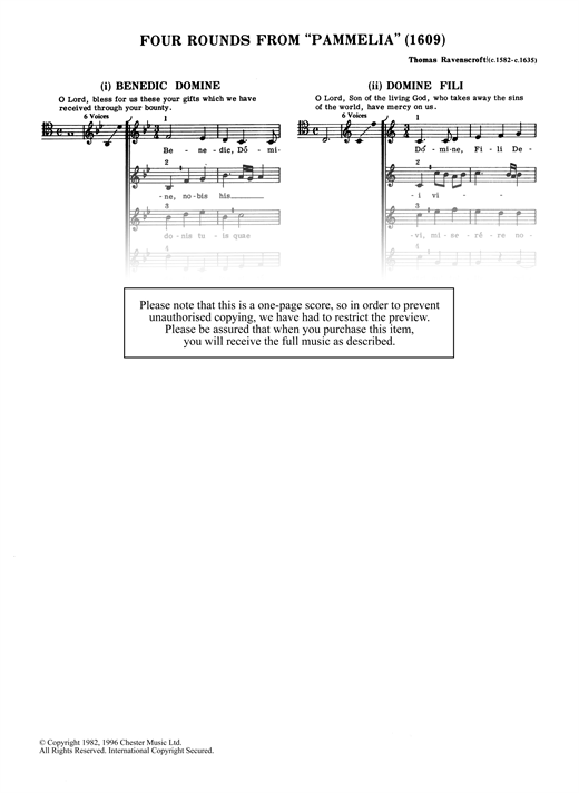 "Four Rounds From ""Pammelia"" Sheet Music"