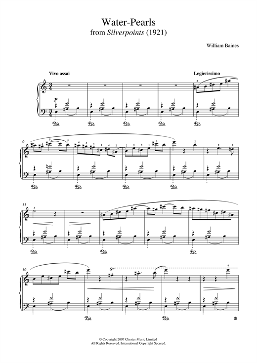 Water-Pearls (From 'Silverpoints') Sheet Music