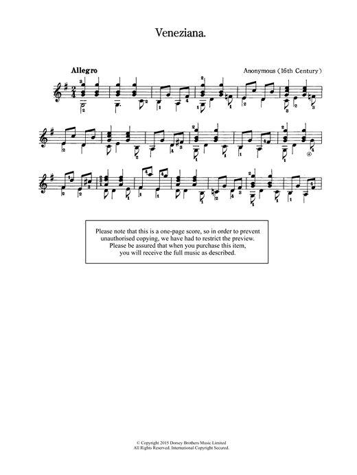 Veneziana Sheet Music