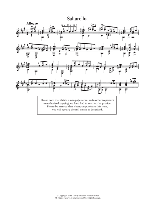 Saltarello Sheet Music