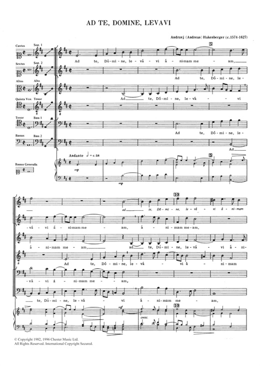 Ad Te, Domine, Levavi Sheet Music
