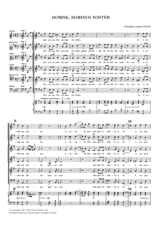 Domine, Dominus Noster Sheet Music
